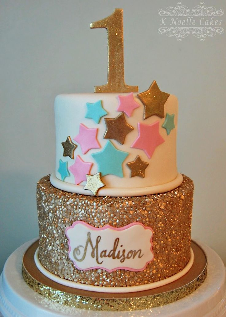 1st Birthday Cake with Twinkle Little Star theme by K Noelle Cakes
