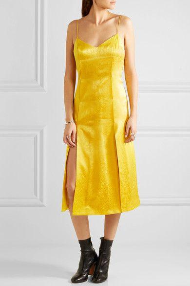 Topshop Unique - Floral Fatale Silk-jacquard Dress - Yellow - UK6