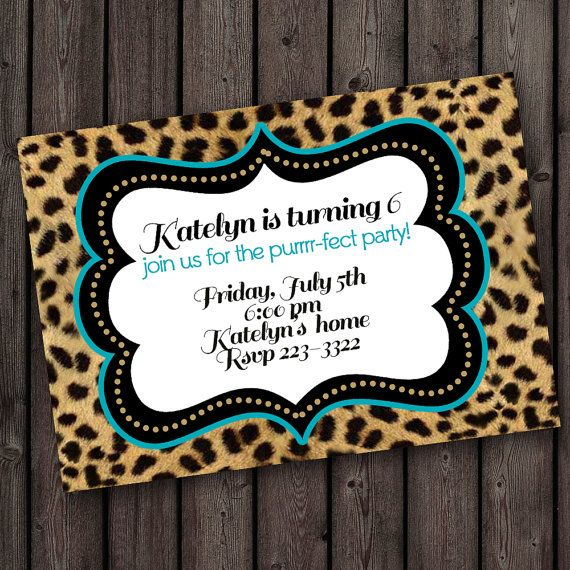 Cheetah print invitation custom color border by AmysSimpleDesigns