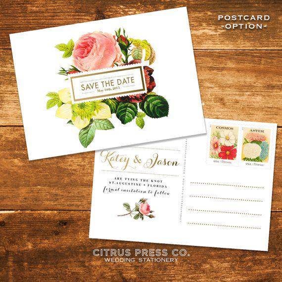 Save the Date Wedding botanical roses, flora, vintage, boho chic postcards on Etsy, $2.21 AUD