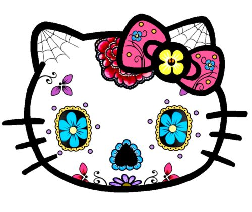 Hello kitty sugar skull sticker decal this is a skull sticker in full color the decal measurements is x 4