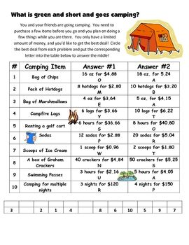 Worksheets Unit Rate Word Problems With Answers 17 best images about ratio and proportion on pinterest this is a 10 question review unit rate take your students camping with this
