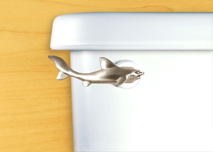 Shark Toilet Handle. The magnificent Great White Shark has survived millions of years of evolution without change. They are both feared and appreciated. For those who are drawn to the awesome power of these fish. Finish: Satin Pewter $35 or Chrome $42  ~  nautical sea ocean bathroom