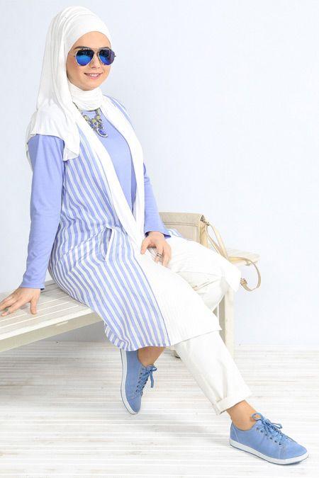 Alia Mavi Cizgili Yelek