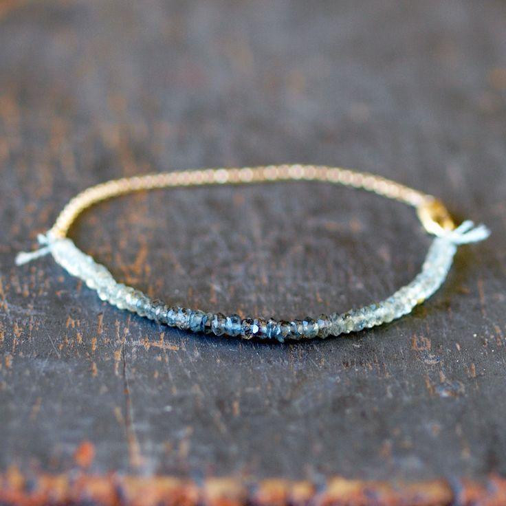 Aquamarine Ombre Bracelet Gemstone Spectrum Gold Chain Delicate Handmade Jewelry.