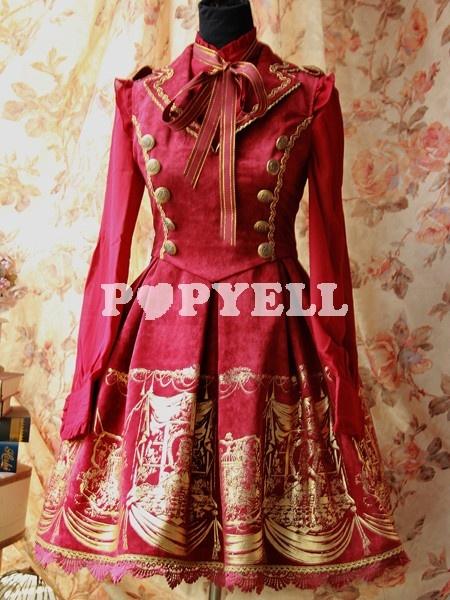 #lolita #Robe à bretelles lolita classique rouge en terry col à revers a prix pas cher chez Popyell.com