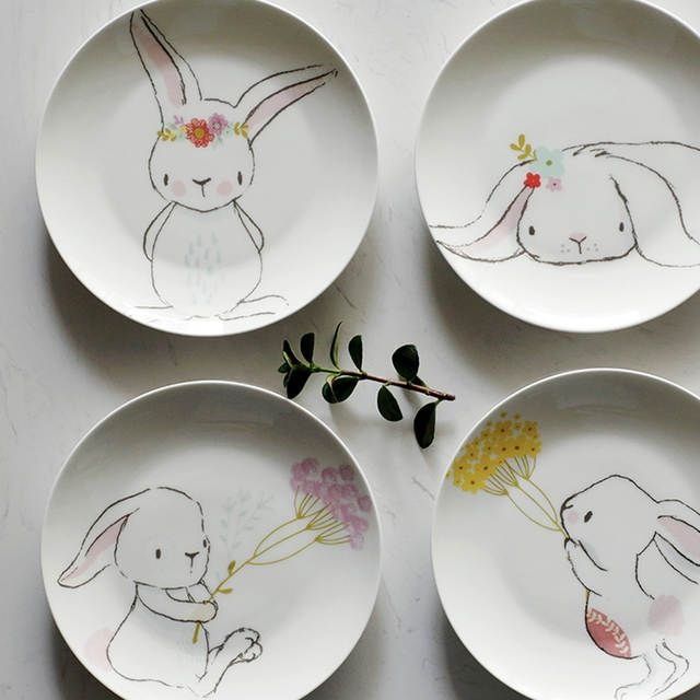 Creative Cartoon Cute Ceramic Children's Breakfast Bowl Dish Dessert Fruit Snack Plate Animal Cutlery Bowl Tableware Ceramic