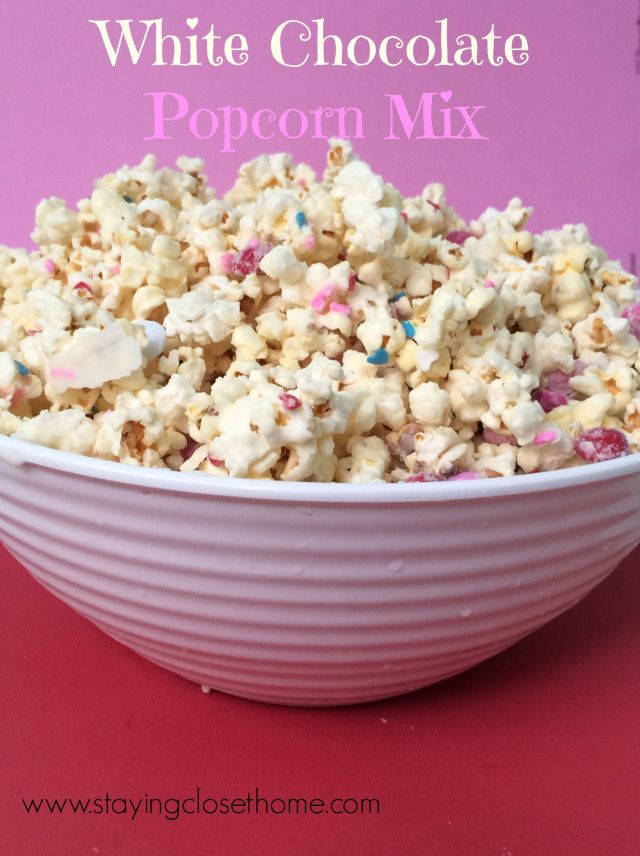 white chocolate covered popcorn mix