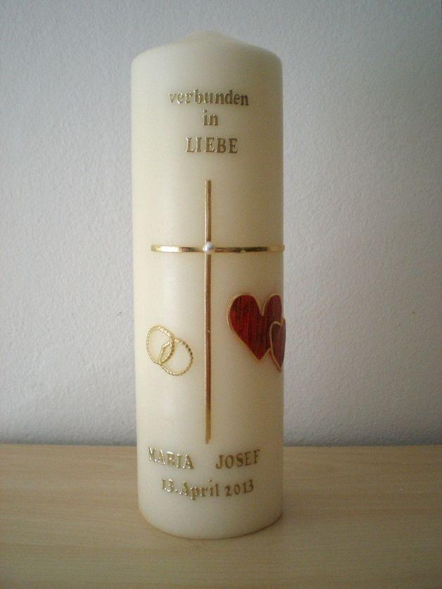 Hochzeitskerzen & Beleuchtung - Hochzeitskerze goldenes Kreuz - ein Designerstück von kerzengaertnerin bei DaWanda