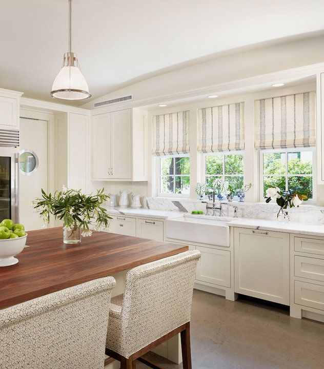 More kitchen love cabinets roman shades and window for Roman shades for kitchen windows