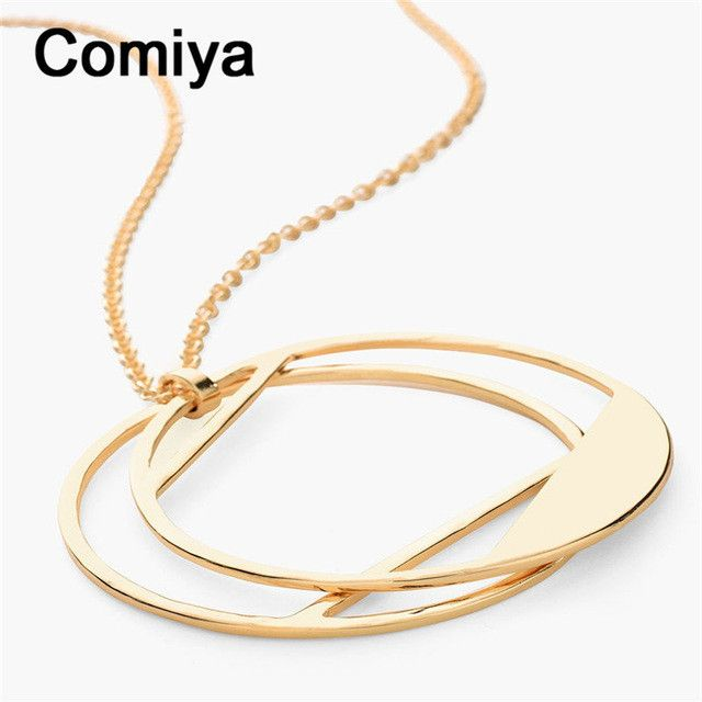 Comiya Handmade Cadenas De Plata Mujer Fashion Gold Color Zinc Alloy Hollow Out Circle Charm Pendant Necklace Wholesale Necklace