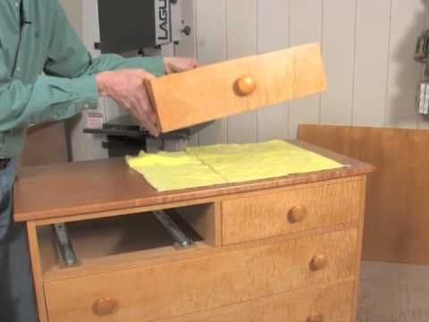 Installing Under-Mount Drawer Slides - Good youtube tutorial and suggestions on how to mount bottom drawer slides. I will need to get slides that are same length of drawer front to back, and be sure to get fully extended drawer slides.