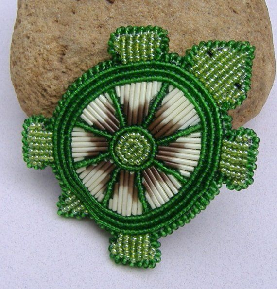 Turtle Barrette (beads & porcupine quills)