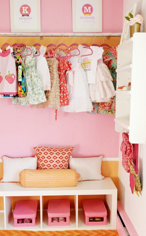 Exposed Closet in Orange and Pink Girl's Room. This was the original color palette I was envisioning for V's room.