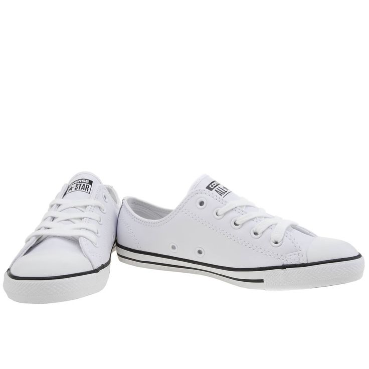 womens converse white all star dainty leather trainers