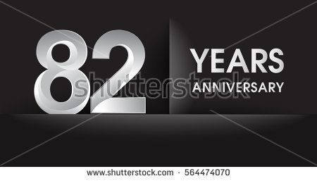 eighty two years Anniversary celebration logo, flat design isolated on black background, vector elements for banner, invitation card for celebrating 82nd birthday party