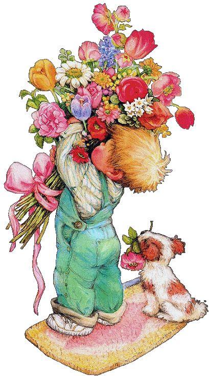 Днем друзей, девочка с цветами открытки с днем рождения