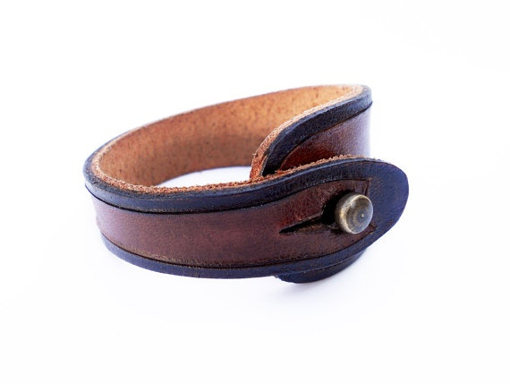 hand carved leather wristband, mahogany brown