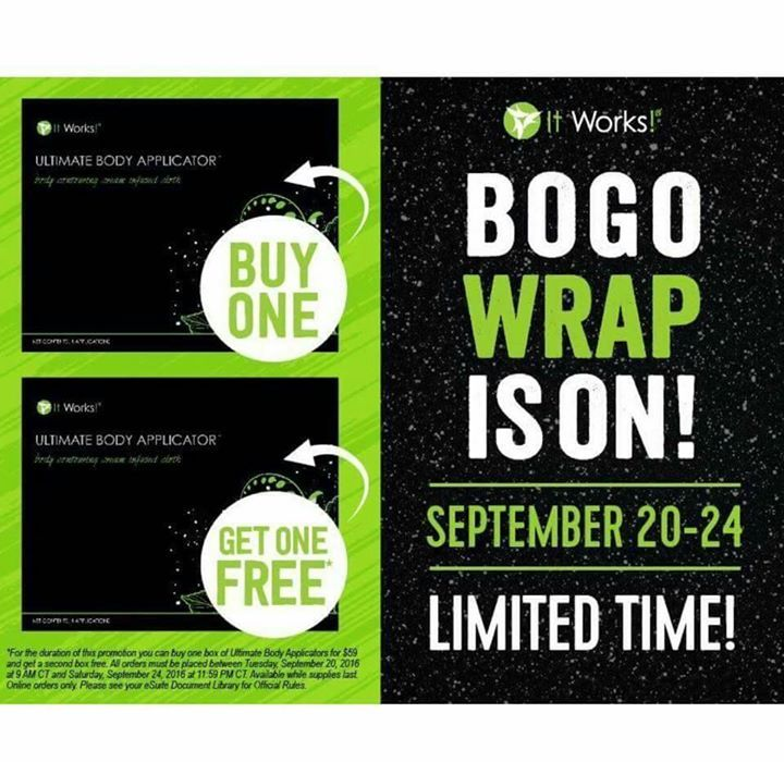 TWOday is the day! We all know TWO is better than one! Buy One Box of Wraps Get One FREE!   Sale ends Saturday at 11:59pm CT...now is the time to order8 Wraps for $59.00That's $7.37 a wrap You can't beat that  We are the home of that Crazy Body WrapHave YOU heard of this crazy It Works body wrap that tightens tones and firms in as little as45 minutes  And no it's not the ones the salons carry that reduce water weight we are GLOBAL that means ALL around the world!! You dont have to be my…
