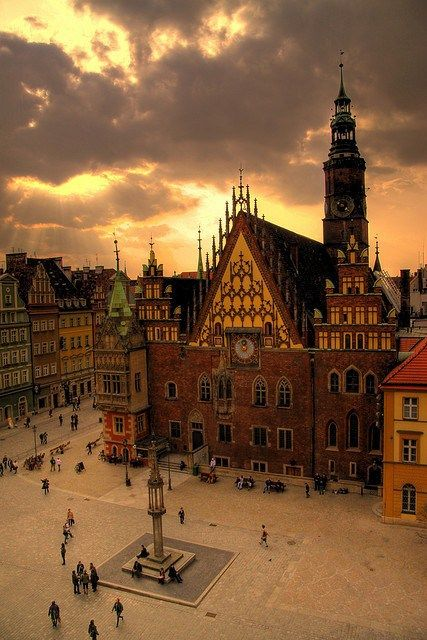City Hall, Wroclaw, Poland. The square looks like it would be filled on a nice summer's day.