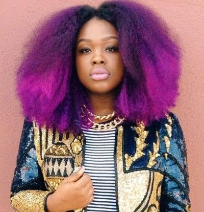 purple hair, blow out, black womens inspiration, afro hair, black girl, hairstyle, curly hair, colorful hair