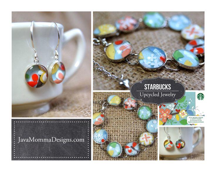 Upcycled Starbucks Gift Card Jewelry #Jewelry, #Repurposed, #Starbucks, #Upcycled