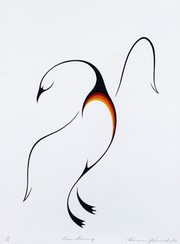 Canadian [b. 1951] LOON DANCING; 1979 colour lithograph on paper; ed. #16/150 29.5 x 21.5 in. (74.9 x 54.6 cm) signed, titled & editioned