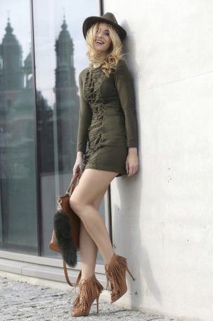 Khaki dress from lace-me-up collection - malubi.co