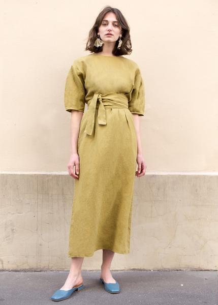 Mustard Green Linen Long Dress – The Frankie Shop