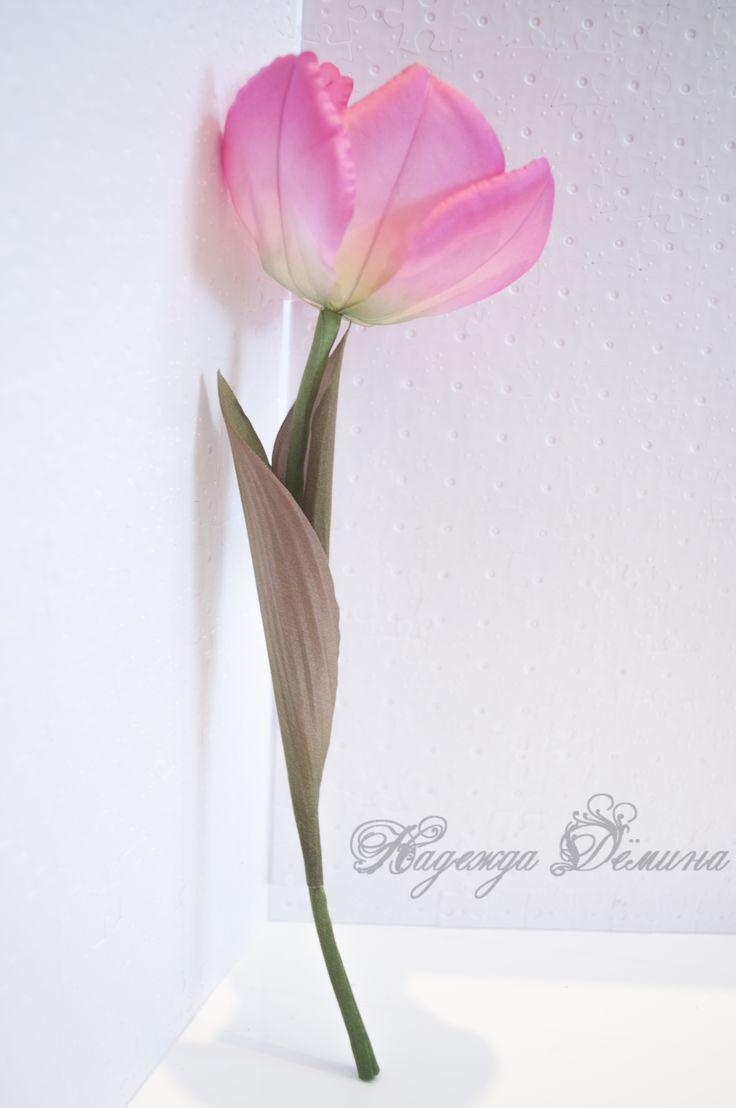 Тюльпан из шелка