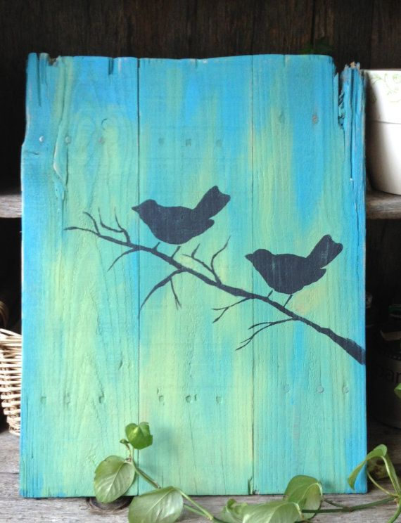 Love Birds Pallet Art Handpainted Birds Primative Wooden Signs