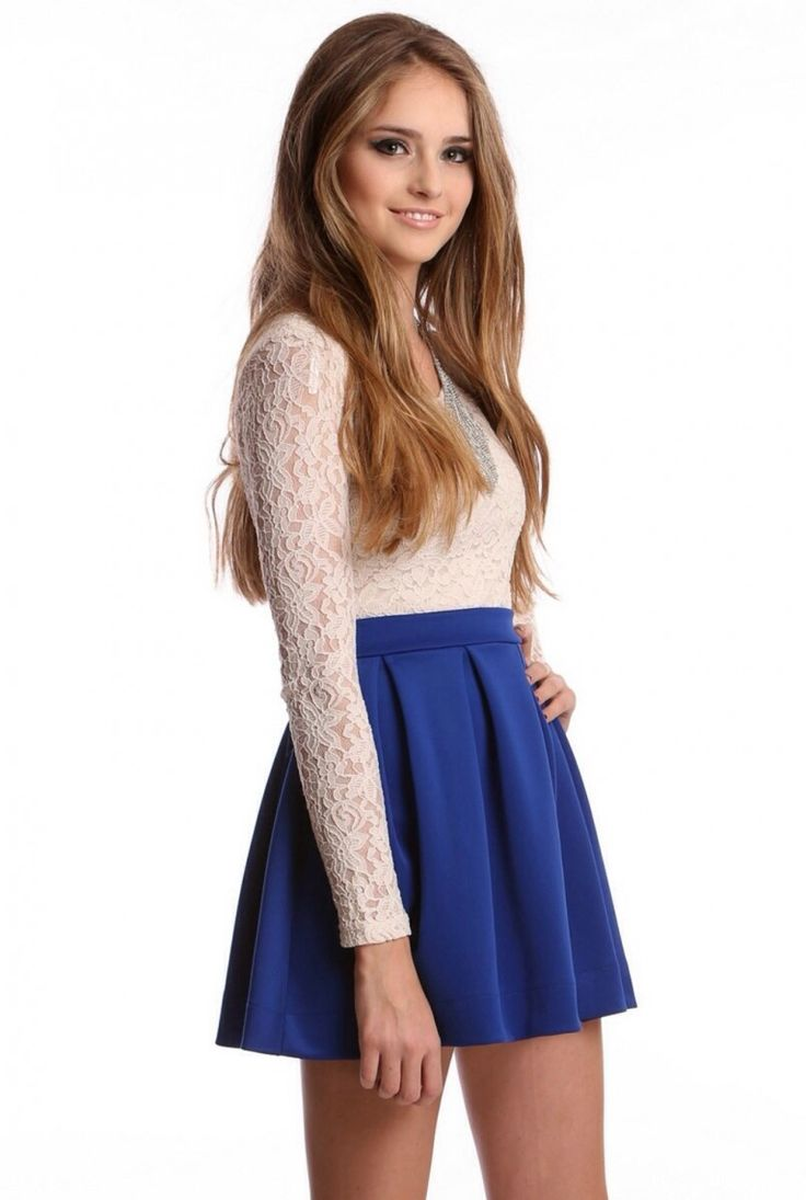 Blue skater skirt high wasted white lace long sleeve shirt outfit pretty ootd fa winter spring school Han out malls shopping