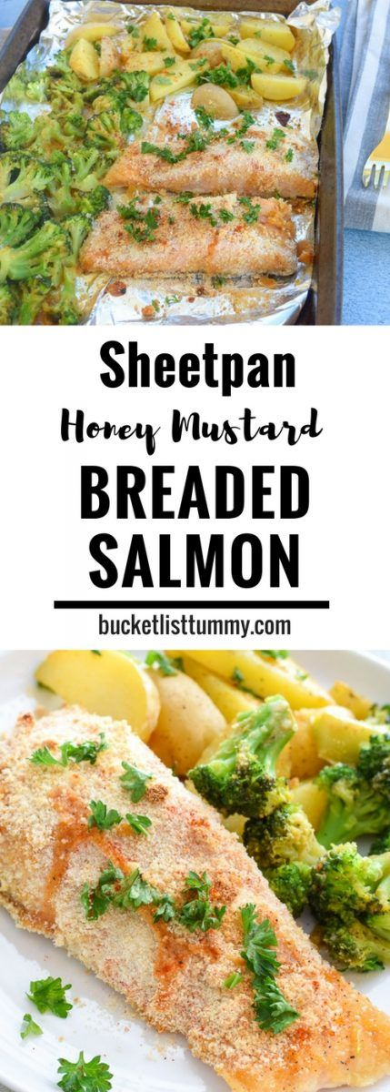 Sheet Pan Breaded Honey Mustard Salmon has AMAZING flavor and is an easy, one pan dinner for easy prep and cleanup! #sponsored #sheetpanmeals #easydinner #seafood https://bucketlisttummy.com/breaded-honey-mustard-sheet-pan-salmon/