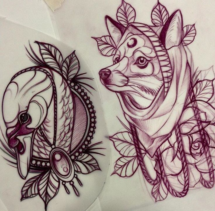 Neo Traditional Swan and Fox Tattoo Designs