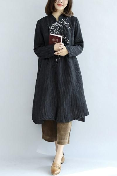Embroidered Cotton Linen Dress Women Tops