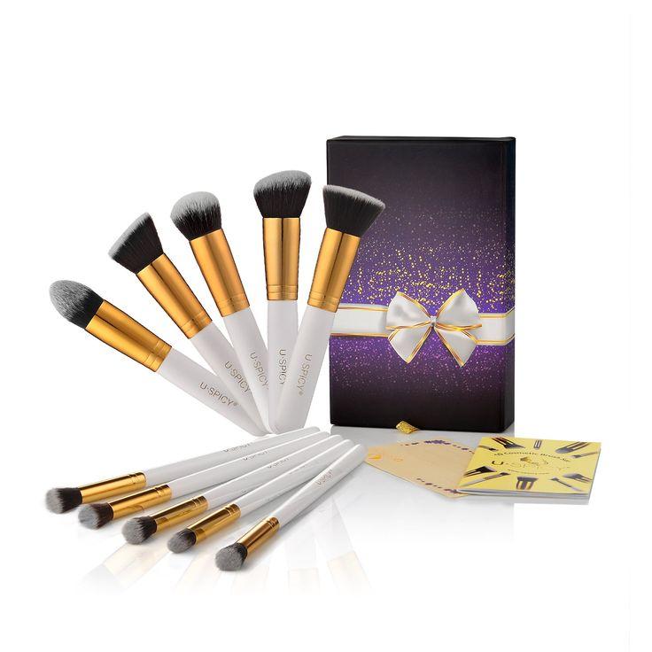 USpicy® Kit de 10 Pinceaux Maquillage Professionnel avec Coffret et Carte de Cadeau - Blanc: Amazon.fr: Hygiène et Soins du corps