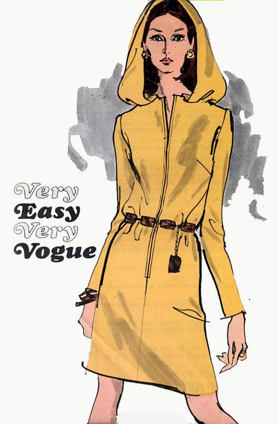 1960er Jahren futuristische Weltraumzeitalter Kapuzen Kleid mit Reißverschluss vorne schließenden Vogue 7658 Vintage 60er Jahre MadMen Nähen Muster Größe 14 Büste 36UNCUT