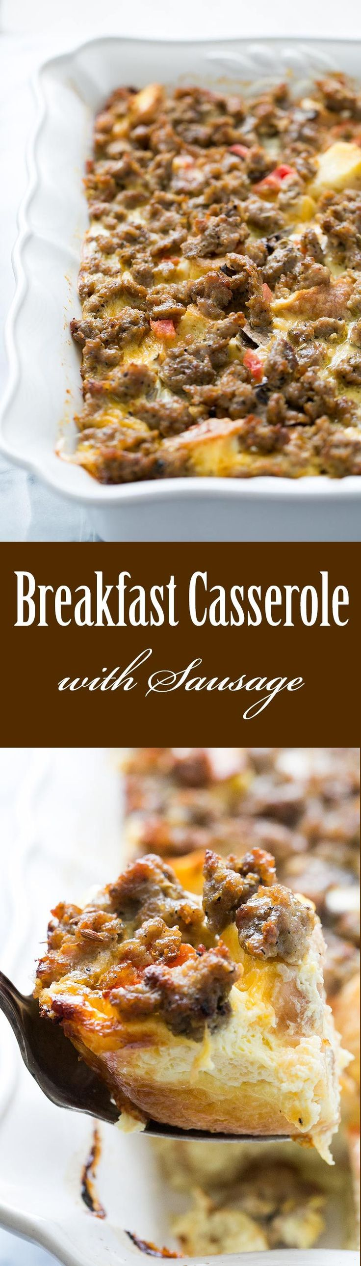 Sausage Breakfast Casserole ~ EASY sausage breakfast casserole! With eggs, sharp cheddar cheese, cubed day old bread, and Italian pork sausage. Perfect brunch casserole! ~ SimplyRecipes.com