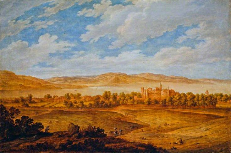 Alexander Keirincx, Seton Palace and the Forth Estuary, c. 1639. Oil on panel (Size: 17.94 x 27.00 in.; 45.60 x 68.50 cm) Purchased by National Galleries of Scotland in 1986.
