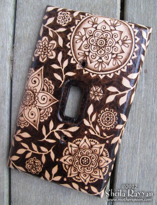 Wood Switchplate Cover Pyrography Henna Flowers by MotherSpoon, $75.00