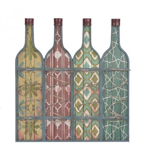 WOODEN WALL BOTTLE HOLDER IN MULTI COLOR 44X11X47