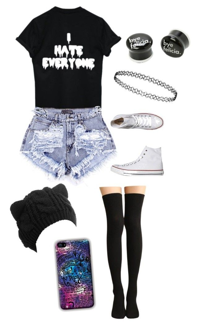 """Untitled #119"" by alternativeoutfits1 ❤ liked on Polyvore featuring Converse and Topshop"