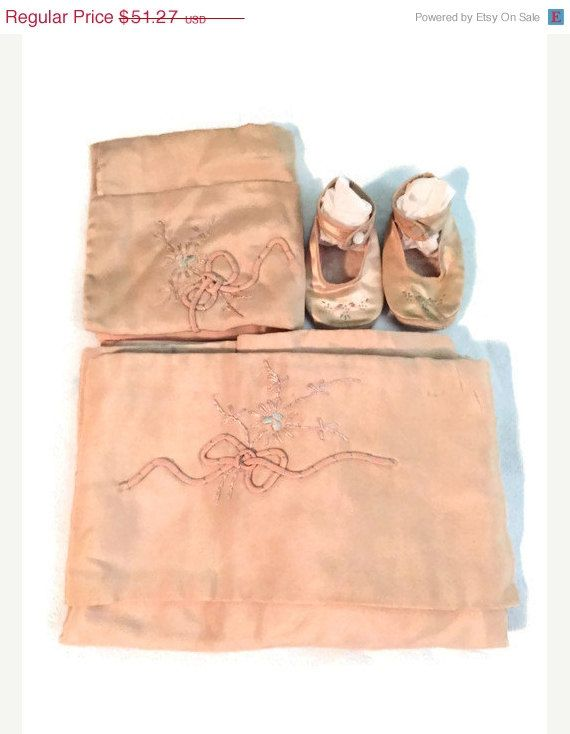 Antique Silk or Satin Embroidered Baby Carriage Pram Set, Blanket, Pillow Sham and Booties