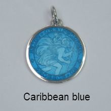 Check out http://gersonjewelers.com!  Sterling silver St Christopher medals as charms and pendants in five sizes and fourteen colors. Every colored St Christopher medal perfect for engraving