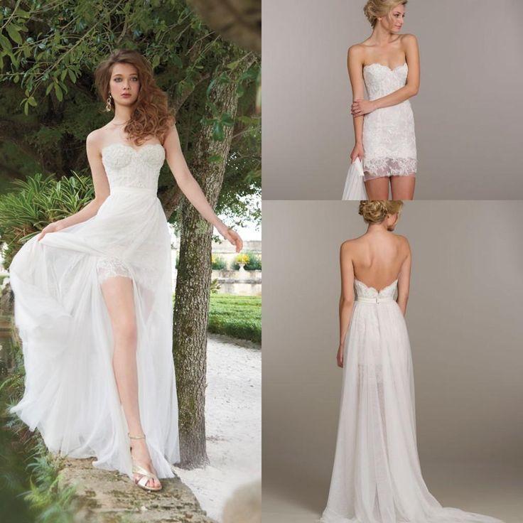 Unique Detachable Skirt Chiffon Beach A Line Wedding Dresses Lace Bridal Mini Dress Strapless Neckline Bodice Low Back Bridal Gowns ZC0212 Online with $123.57/Piece on Sarabridal's Store | DHgate.com