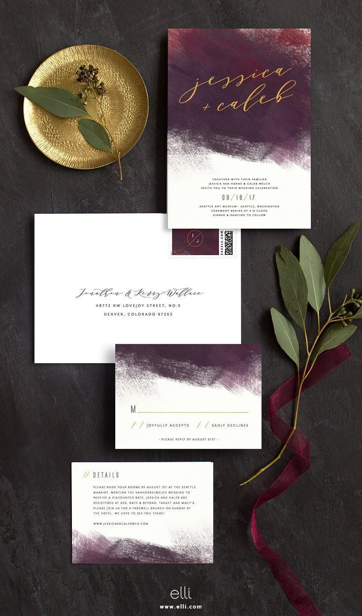 Modern burgundy wedding invitation suite with hints
