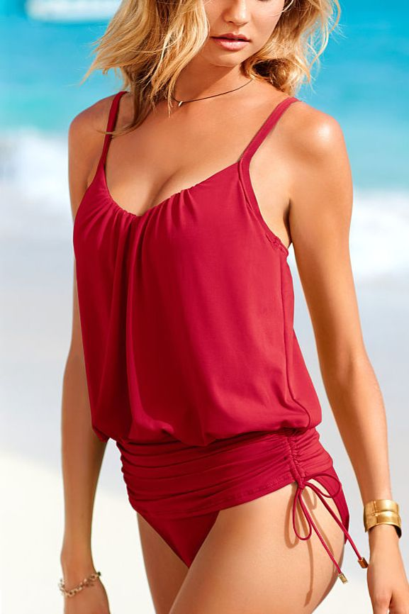 Red Ruched suit. If you are a little self conscious about your tummy, this is a great swimsuit.