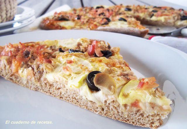 El cuaderno de recetas: Pizza Con Harina Integral y de Garbanzos.