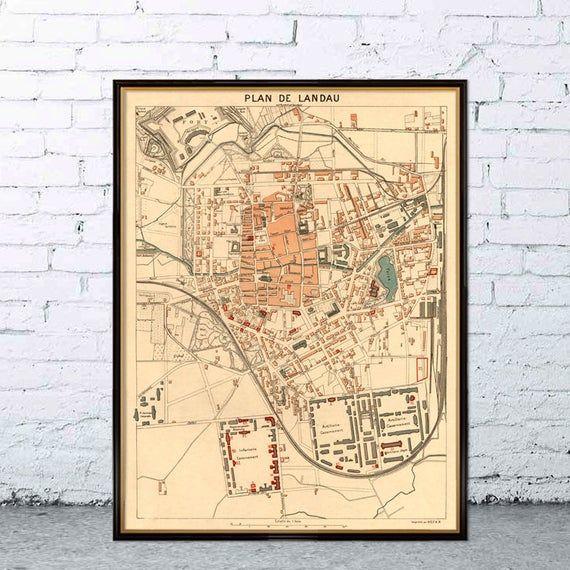 Landau Map Old Map Of Landau Fine Giclee Print Landau Karte
