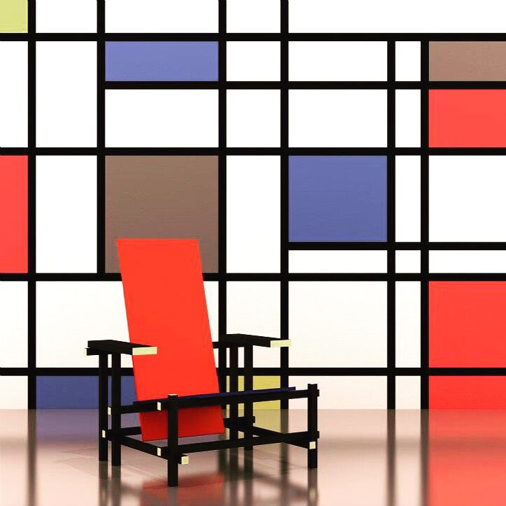 Mondrian rietveld chair designed in 1918 from dutch for Stuhl design bauhaus